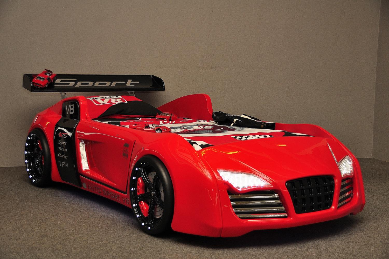 Autobett, Kinderbett BORA V8 in Rot mit LED | moebel-kleinanzeigen.net
