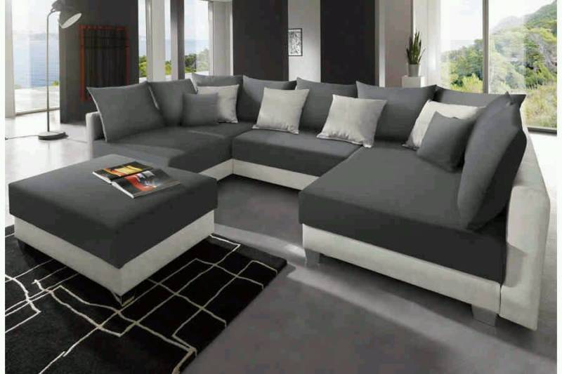 gro e wohnlandschaft u form inkl hocker polster sessel couch. Black Bedroom Furniture Sets. Home Design Ideas
