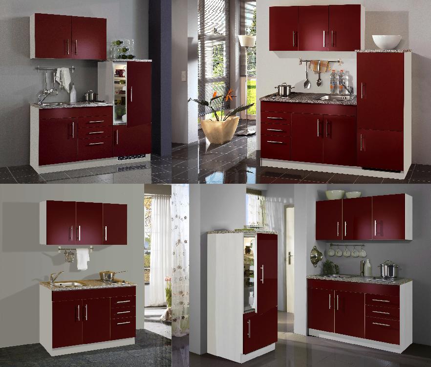 Kompaktküchen Singleküchen kleine Küchen in rot - moebel ...