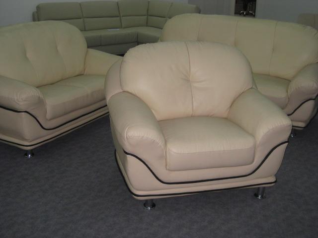 polstergarnitur 3 2 1 in leder polster. Black Bedroom Furniture Sets. Home Design Ideas